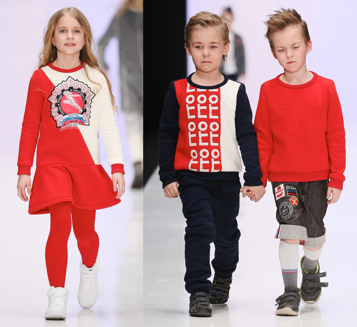 Patriotic childrenswear from the Alliance of Russian Art-Engineers collective show. Photos: Mercedes Benz Fashion Week Russia.