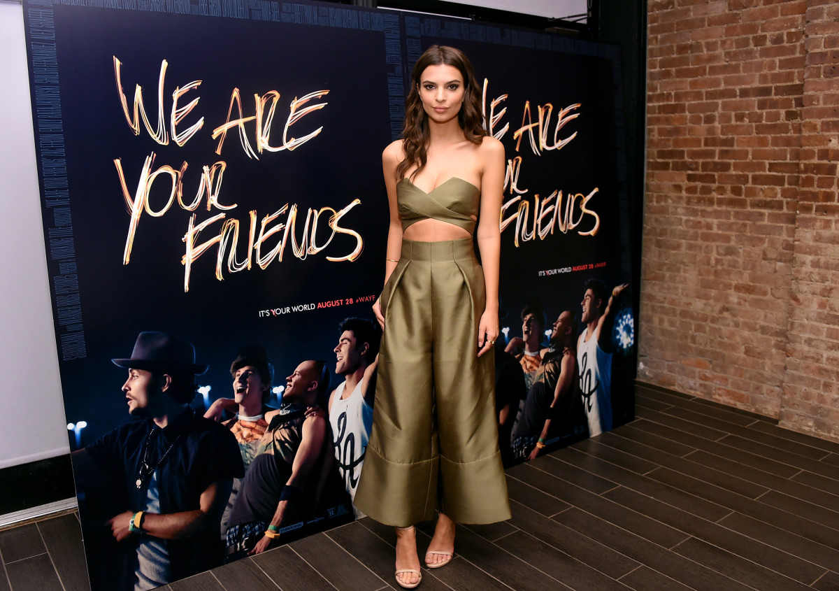 "Emily Ratajkowski in Solace London at ""We Are Your Friends"" photo call. Photo: Michael Loccisano/Getty Images"
