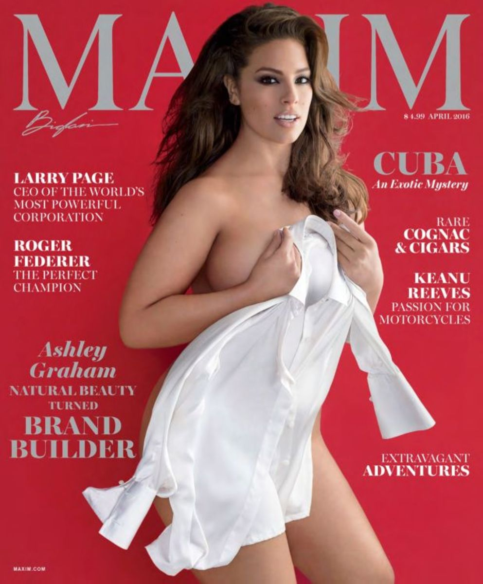 Maxim's April 2016 cover starring Ashley Graham. Photo: Maxim/Gilles Bensimon