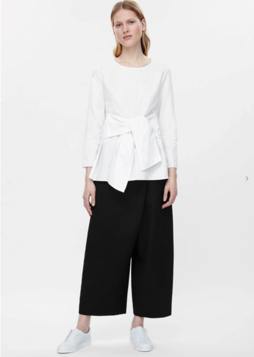 Cotton-linen top with tie, $99, available at Cos.