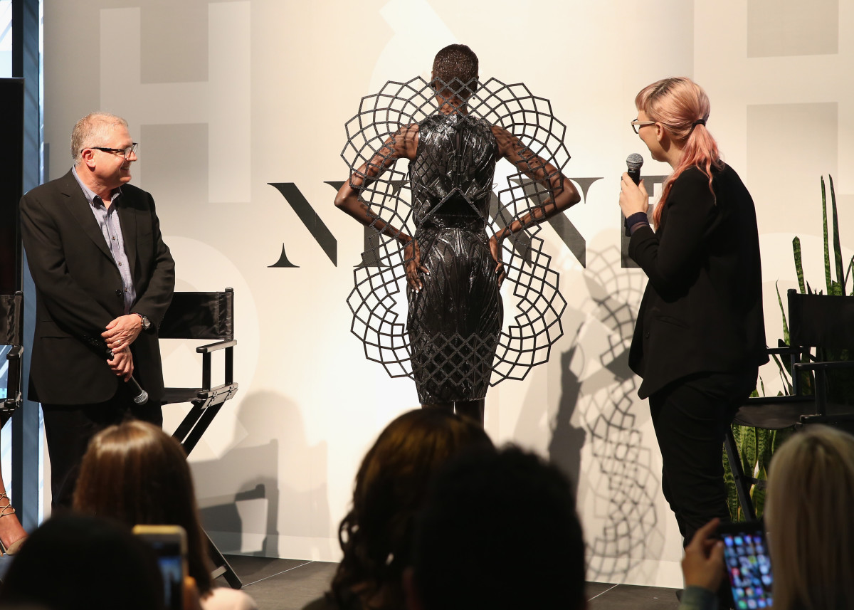 Chromat's Becca McCharen showcases her collaboration with Intel alongside Intel New Technology Group's General Manager Josh Walden at New York Fashion Week in Sept. 2015. Photo: Robin Marchant/Getty Images