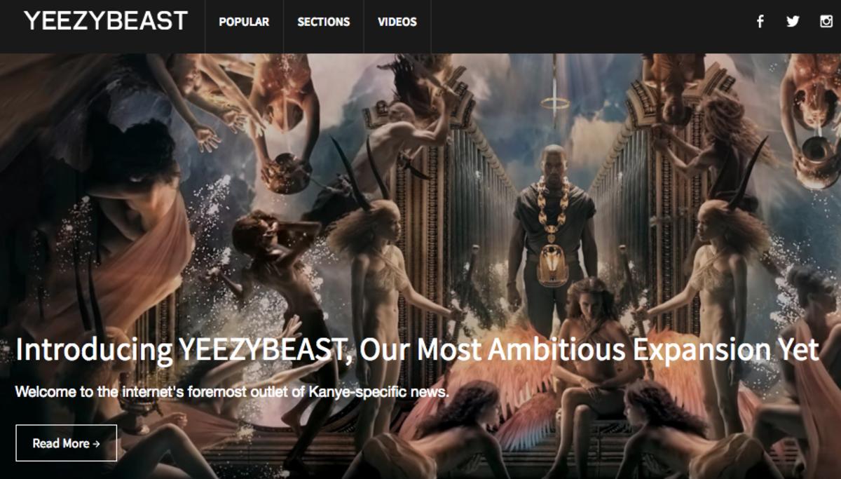 Hypebeast's Yeezybeast website. Photo: Screenshot