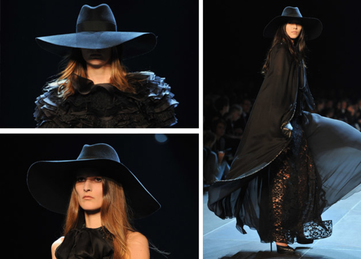 Models at Saint Laurent's spring 2013 show. Photos: Pascal Le Segretain/Getty Images