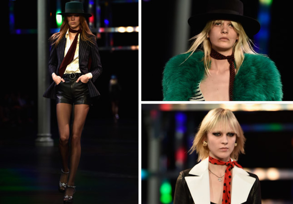 Models at Saint Laurent's spring 2015 show. Photos: Imaxtree (left), Pascal Le Segretain/Getty Images (right)