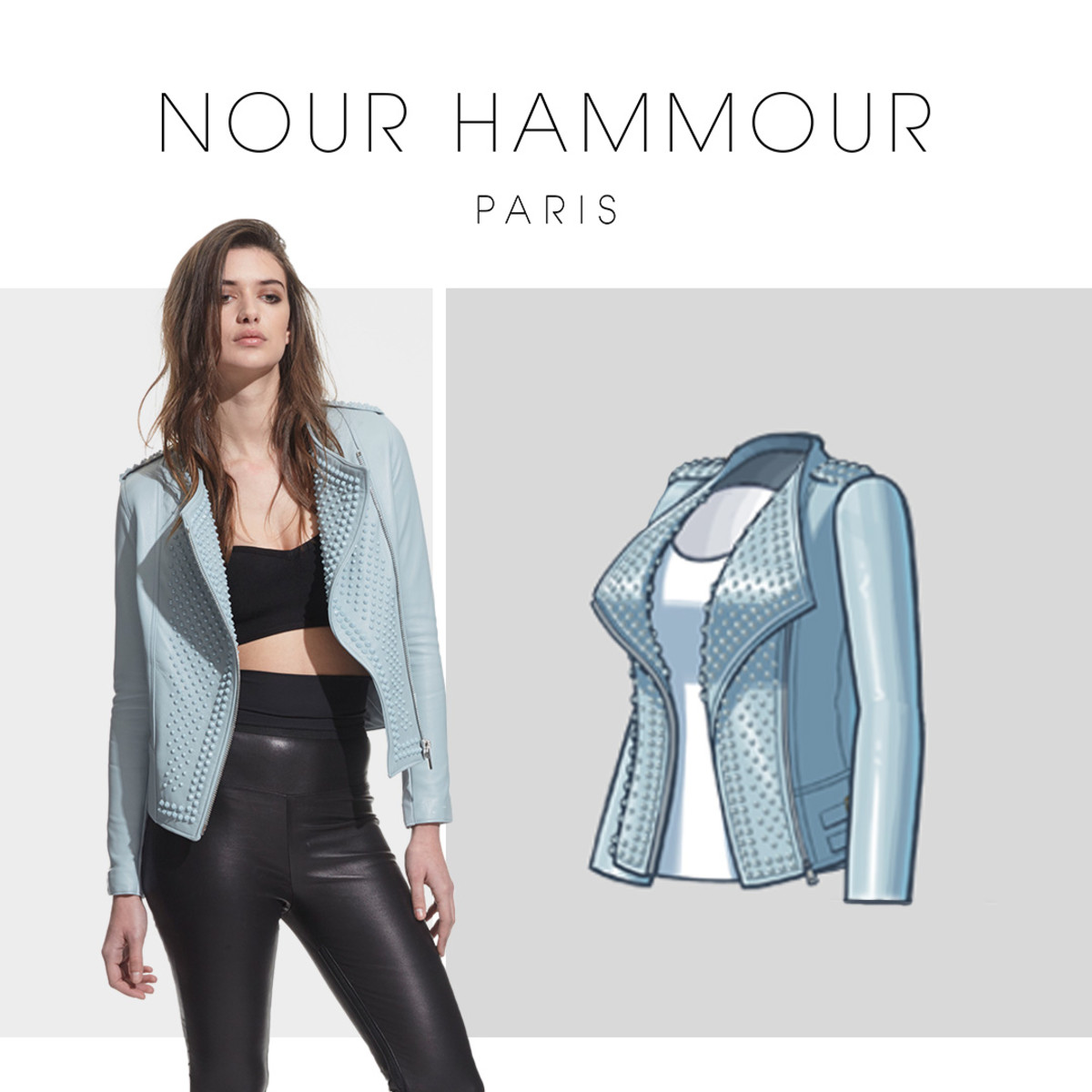 A Nour Hammour jacket and its 2-D rendering in the Kendall & Kylie Game. Photo: Courtesy