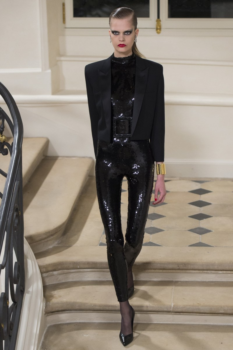 A look from Saint Laurent's fall 2016 show in Paris. Photo: Imaxtree