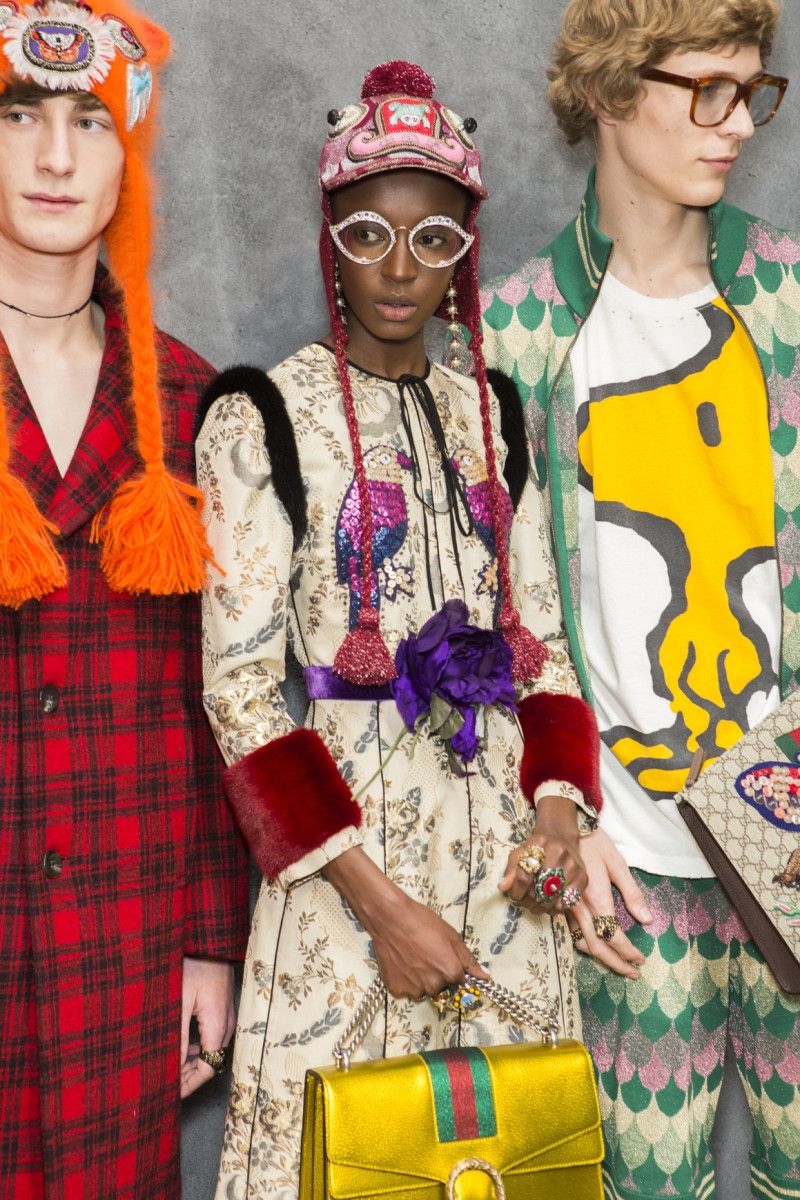 Backstage at the Gucci men's fall 2016 show. Photo: Imaxtree