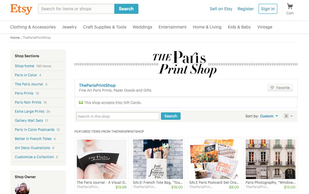 The Paris Print Shop's storefront on Etsy.com.