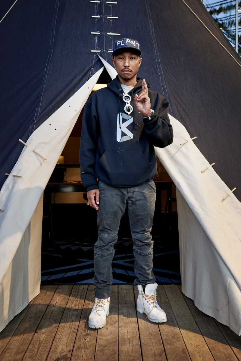 Pharrell in front of his G-Star denim teepee. Photo: G-Star Raw