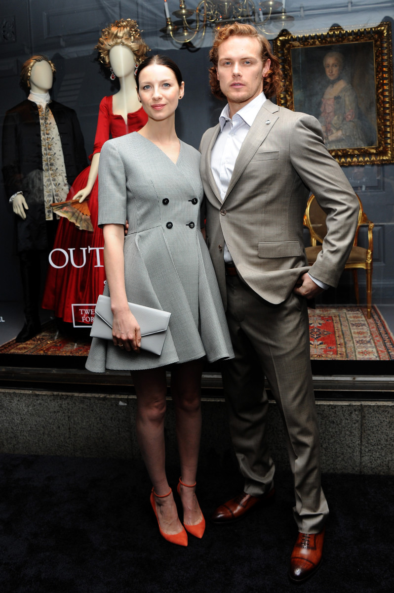 Caitriona Balfe and Sam Heughan in 21st century outfits. Photo: Desiree Navarro/Getty