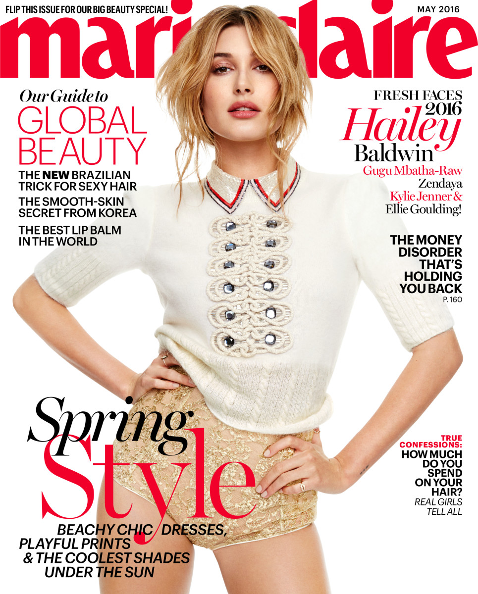 Hailey Baldwin wears Tommy Hilfiger on the May cover of 'Marie Claire.' Photo: Marie Claire