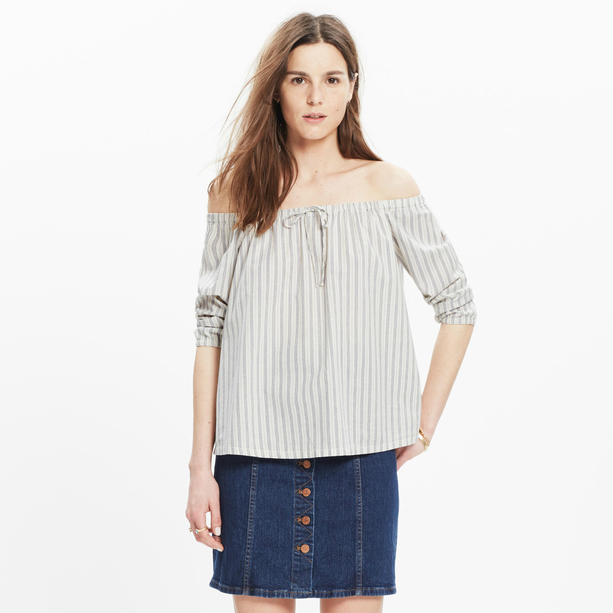 Madewell Striped Off-the-Shoulder Top, $72, available at Madewell.