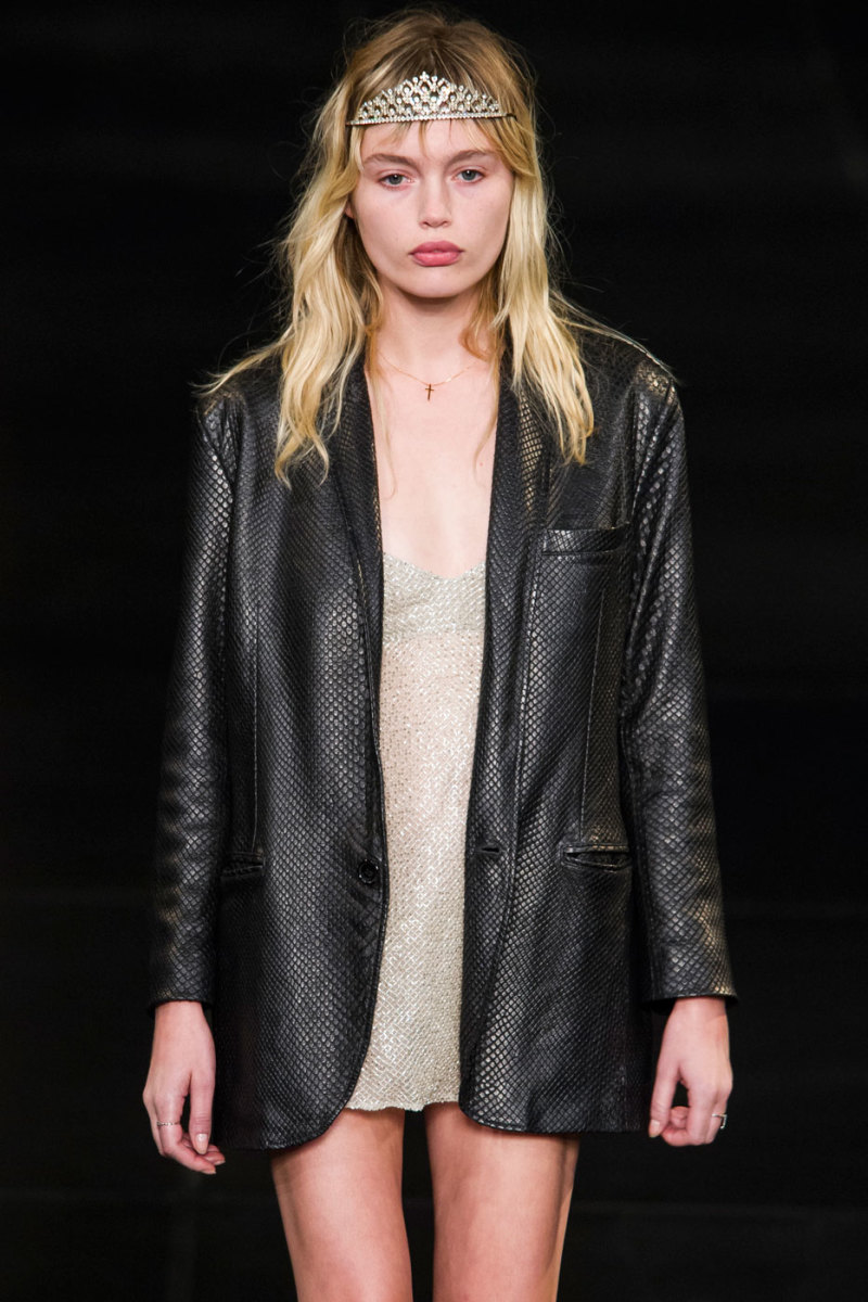 Staz Lindes at the Saint Laurent spring 2016 show. Photo: Imaxtree