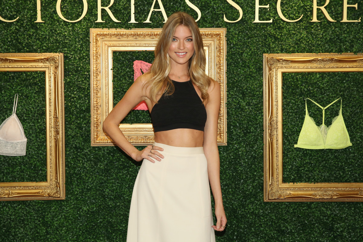 Martha Hunt styles her Victoria's Secret bralette with a Novis skirt and killer abs. Photo: Getty Images