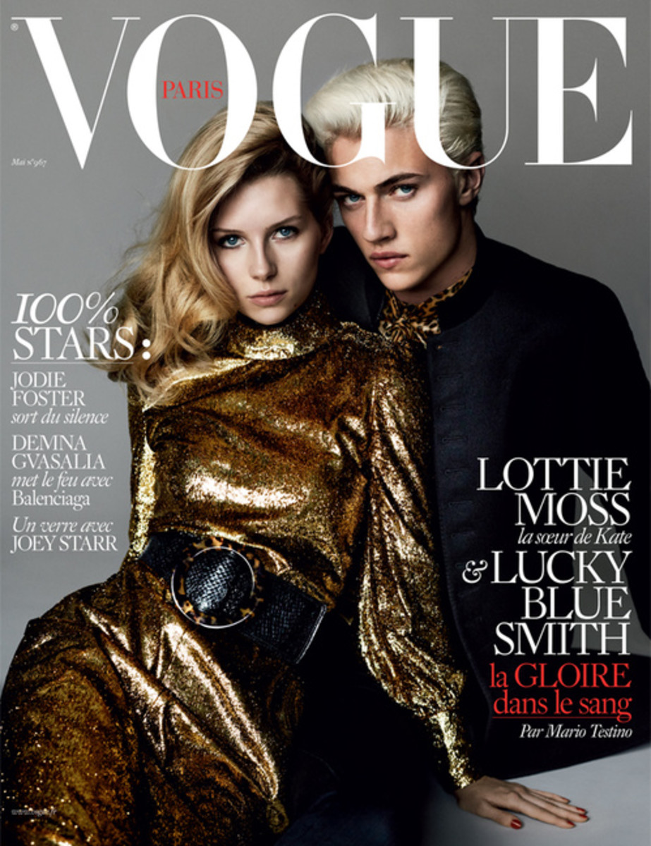 Lottie Moss and Lucky Blue Smith cover 'Vogue' Paris. Photo: Mario Testino/Vogue Paris