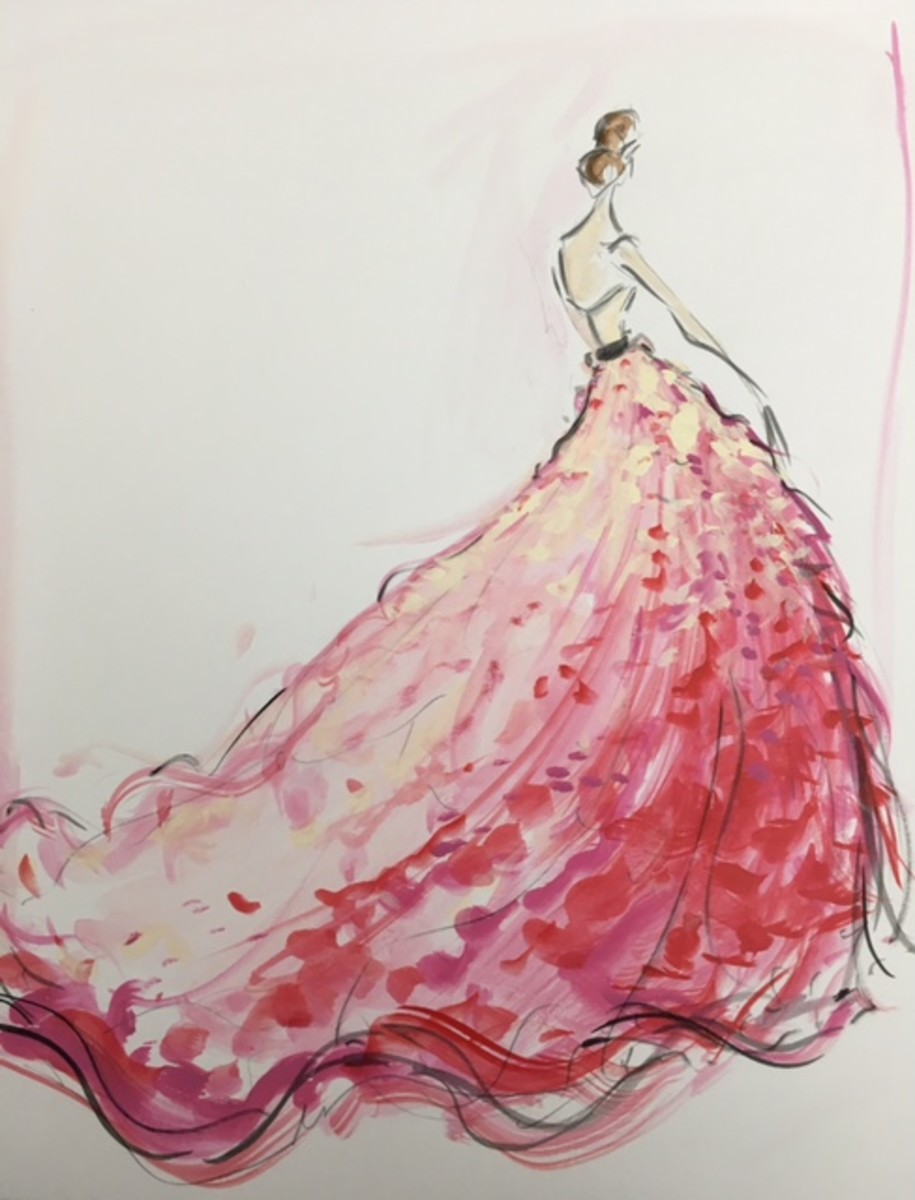 A brightly-colored sketch from the bridal collection. Photo: Christian Siriano