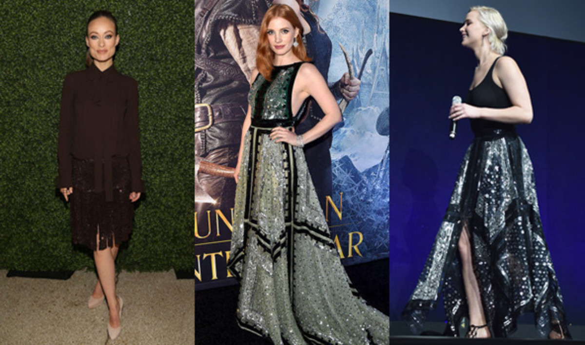 From left to right: Olivia Wilde Photo: Paul Morigi/Getty Images ; Jessica Chastain. Photo: Kevin Winter/Getty Images ; Jennifer Lawrence. Photo: Alberto E. Rodriguez/Getty Images.