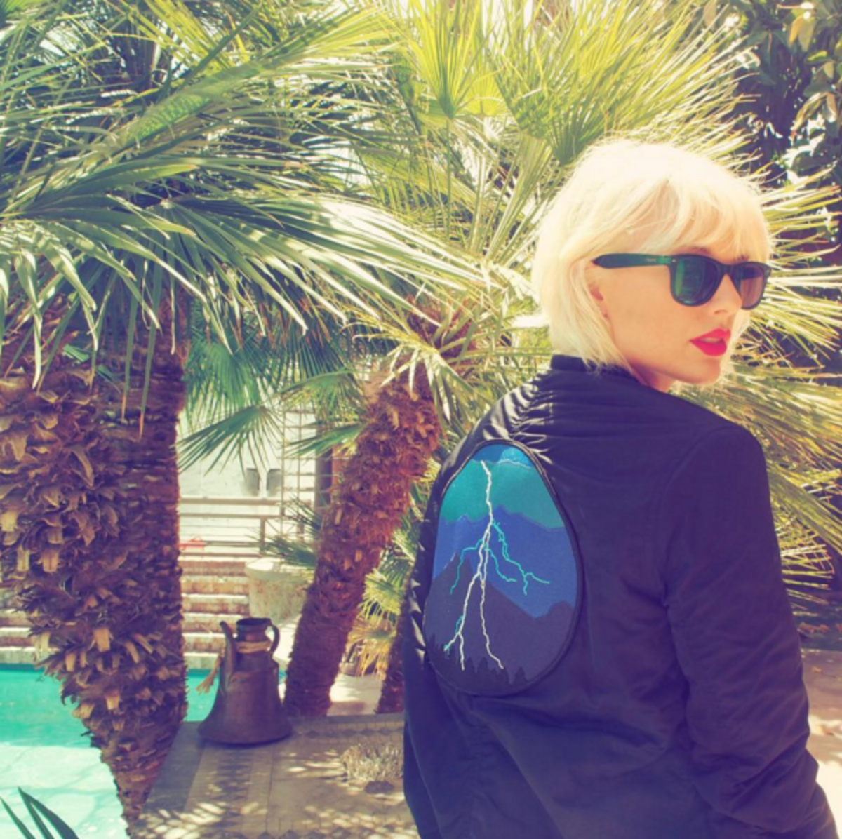 Taylor Swift with freshly bleached hair at Coachella. Photo: Instagram/@taylorswift