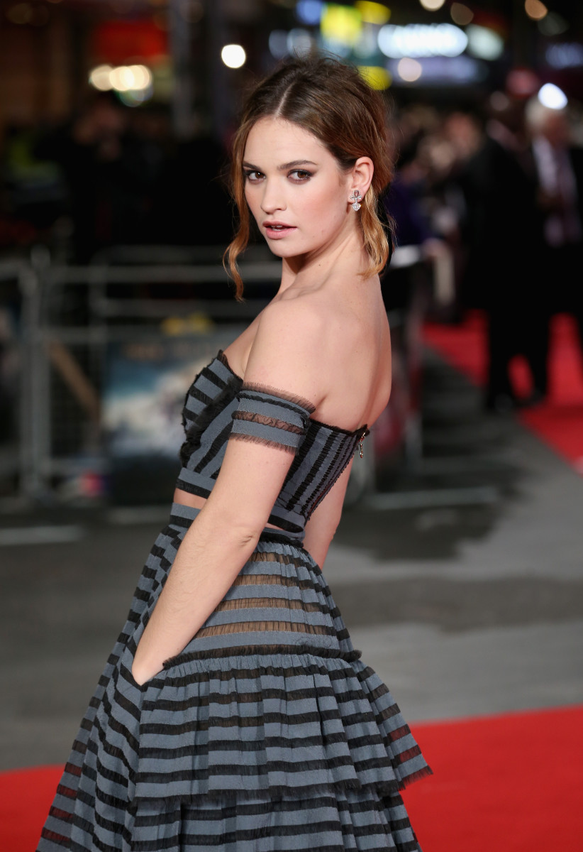 "Lily James at the European premiere of ""Pride And Prejudice And Zombies"" on Feb. 1, 2016 in London. Photo: Chris Jackson/Getty Images"