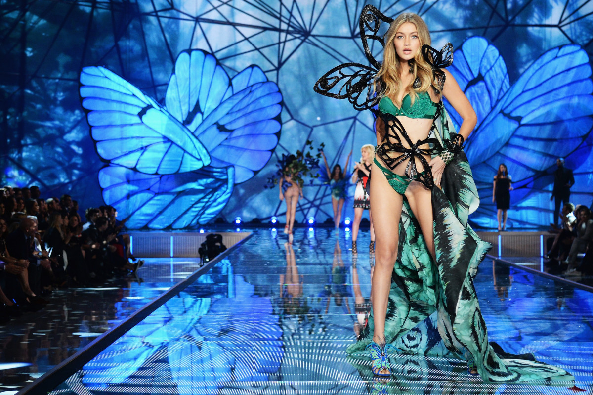 Gigi Hadid at the 2015 Victoria's Secret Fashion Show in NYC. Photo: Dimitrios Kambouris/Getty Images