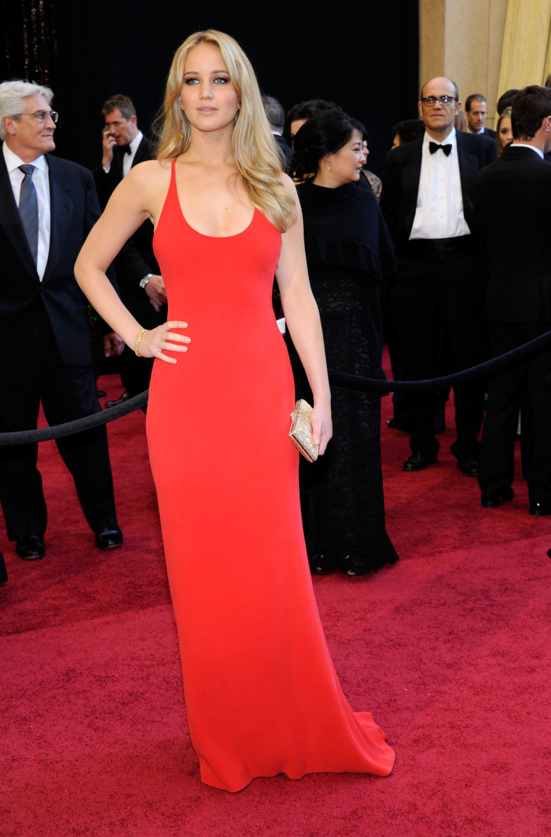 Jennifer Lawrence in not Dior. Never forget. Photo: Ethan Miller/Getty Images
