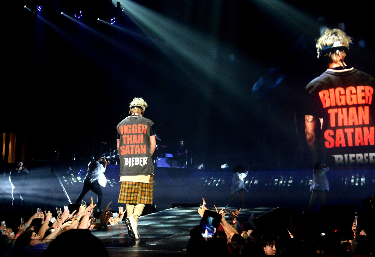 "Justin Bieber in custom ""Purpose"" tour merch. Photo: Jeff Kravitz/FilmMagic"