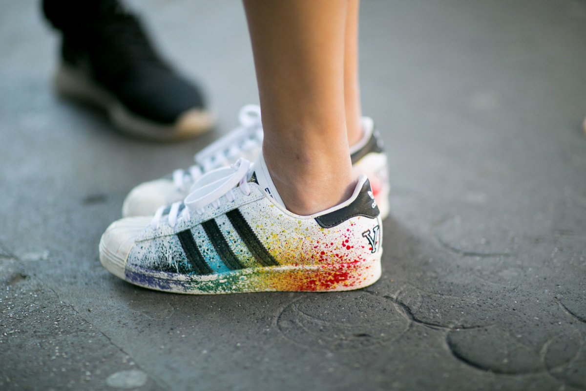 Customized Adidas at Milan Fashion Week. Photo: Imaxtree