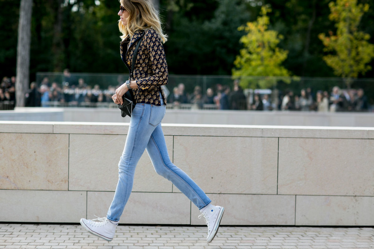 Veronika Heilbrunner in Converse at Paris Fashion Week. Photo: Imaxtree