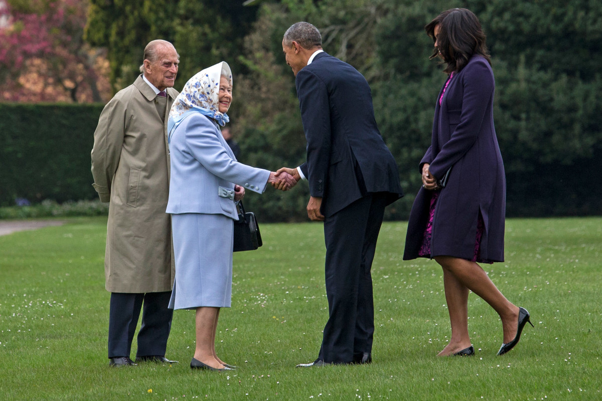 Prince Phillip, Queen Elizabeth II, President Barack Obama, First Lady Michelle Obama. Photo: Jack Hill - WPA Pool/Getty Images