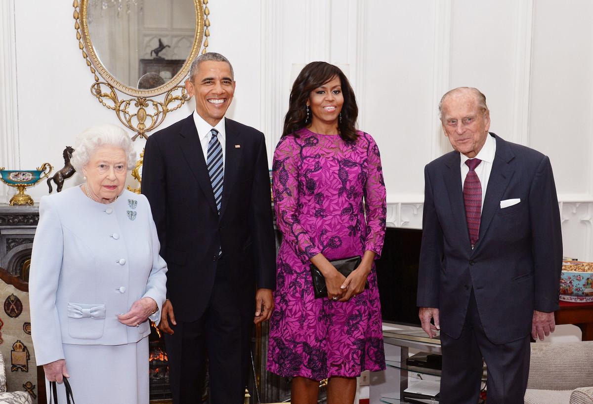 Queen Elizabeth II, President Barack Obama, First Lady Michelle Obama, Prince Phillip Photo: John Stillwell/AFP/Getty Images