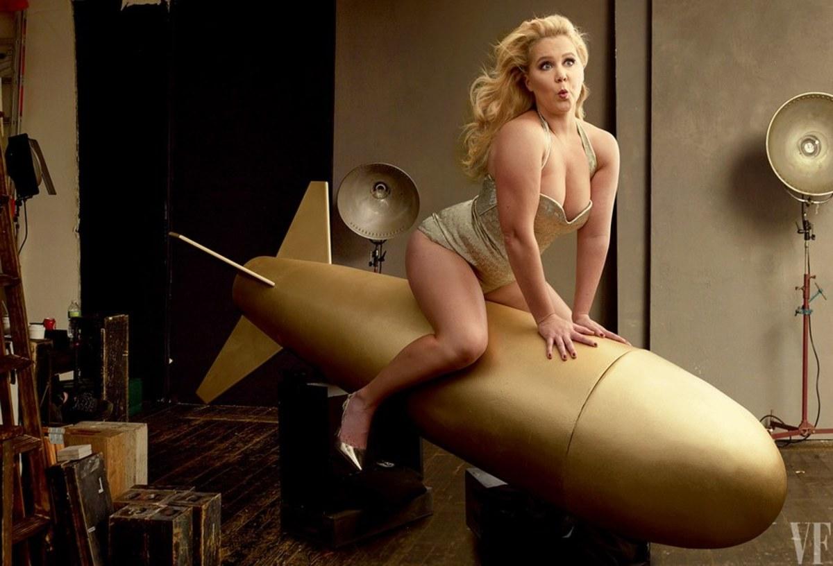Amy Schumer in a corset, on a rocket. Photo: Annie Leibovitz