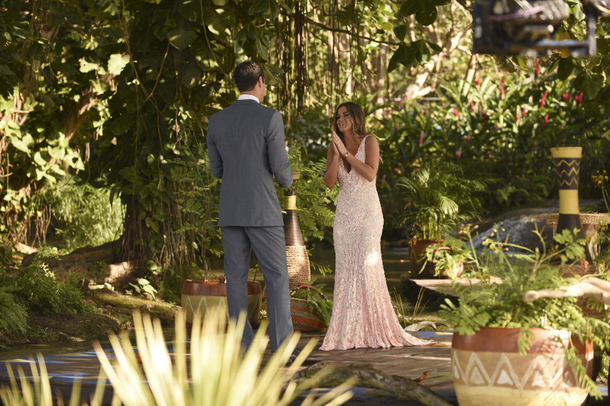 JoJo wears a Mac Duggal gown as Ben says he prefers Lauren. Photo: ABC/Matt Dunn
