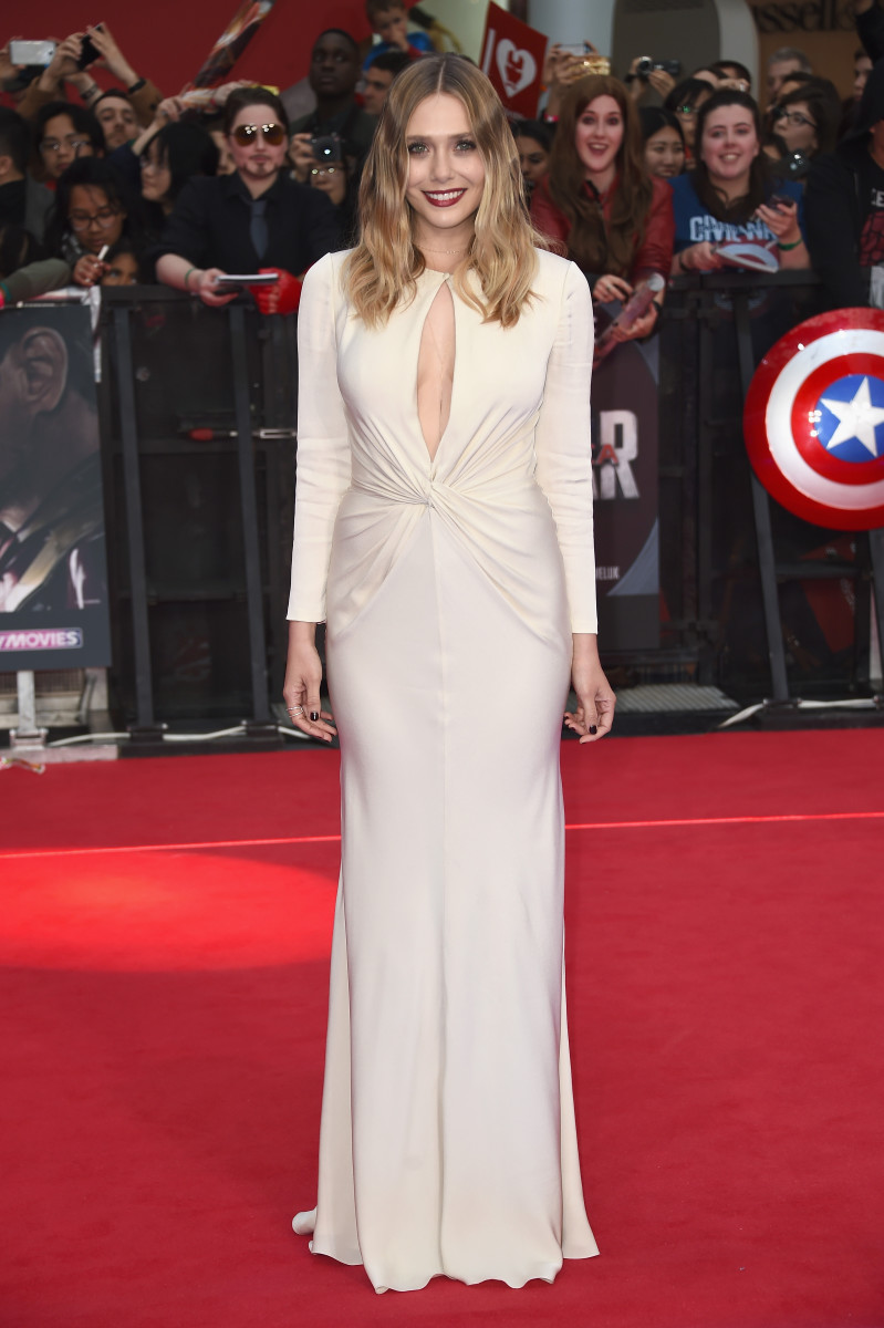 "Elizabeth Olsen at the premiere of ""Captain America: Civil War"" in London, England. Photo: Ian Gavan/Getty Images"