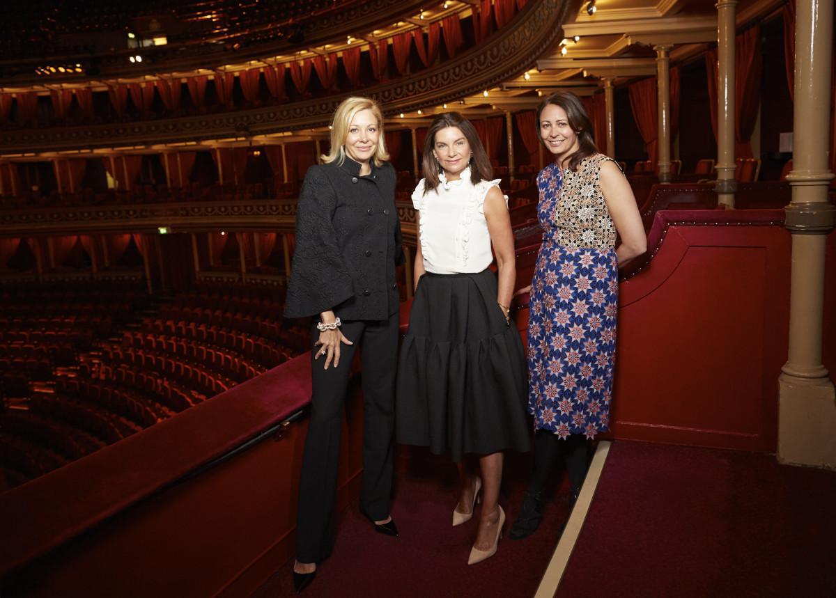 Nadja Swarovski, Dame Natalie Massenet and Caroline Rush of the British Fashion Council. Photo: BFC