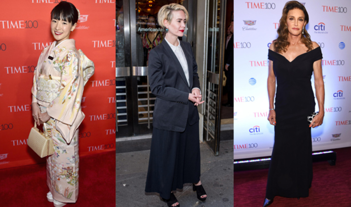 Left to right: Marie Kondo. Photo: Dimitrios Kambouris/Getty Images for Time; Sarah Paulson. Photo: Roy Rochin/Getty Images; Caitlyn Jenner. Photo: Dimitrios Kambouris/Getty Images for Time