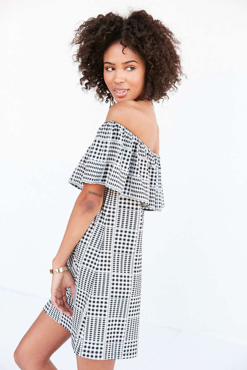 Cooperative Gingham Ruffle Off-The-Shoulder Mini Dress, $34.99 (from $69), available at UrbanOutfitters.com.