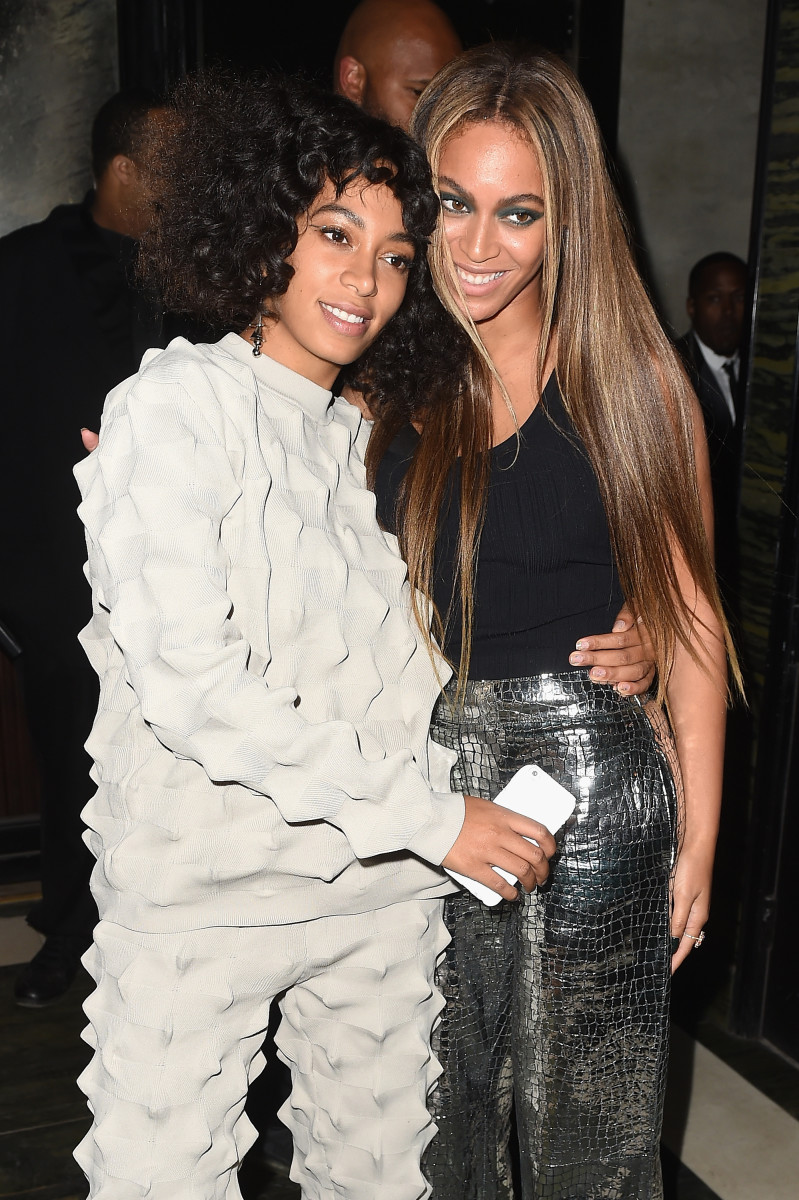 Solange Knowles in Kenzo and Beyonce at the Balmain and Olivier Rousteing after party. Photo: Nicholas Hunt/Getty Images