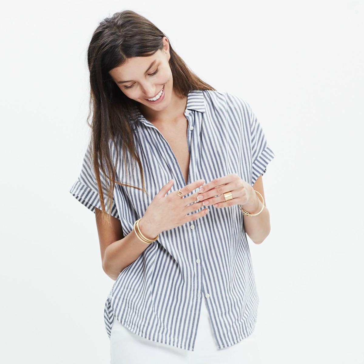 Madewell Central Shirt in Chambray Stripe, $69.50, available at Madewell.