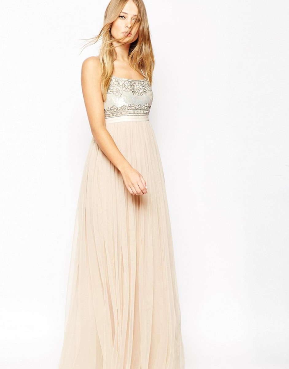 Needle & Thread Pink Strappy Backless Tulle Embellished Maxi Dress, $300, available at Lyst.