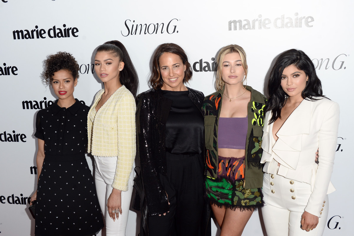 Gugu Mbatha-Raw, Zendaya, 'Marie Claire' Editor-in-Chief Anne Fulenwider, Hailey Baldwin and Kylie Jenner at the 'Fresh Faces' party celebrating the magazine's May issue in Los Angeles. Photo: Matt Winkelmeyer/Pret-a-Reporter/Getty Images
