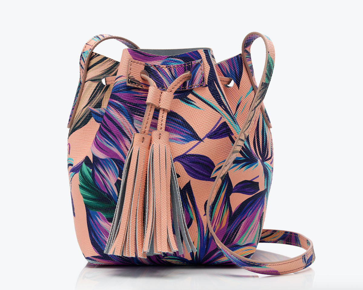 Mini bucket bag in painted petal leather, $99.99, available at J. Crew.