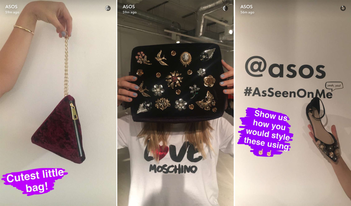 Asos (username: Asos) on Snapchat. Photos: Asos