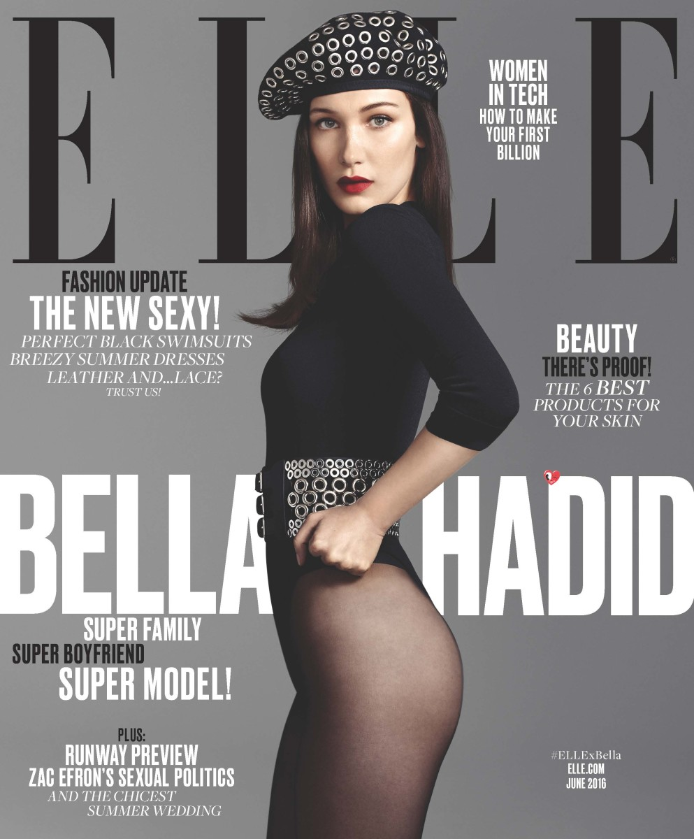 Bella Hadid on the June cover of 'Elle.' Photo: Terry Tsiolis/Elle