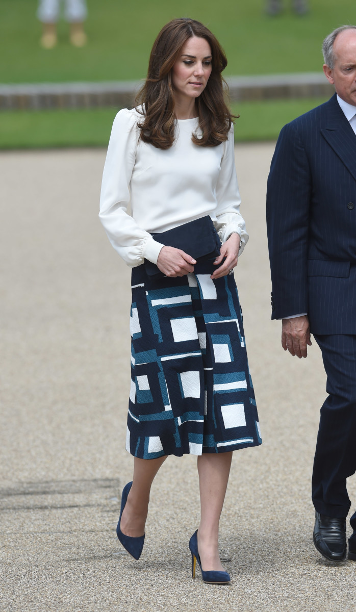 The Duchess of Cambridge in Goat and Banana Republic. Photo: Stuart C. Wilson/Getty Images