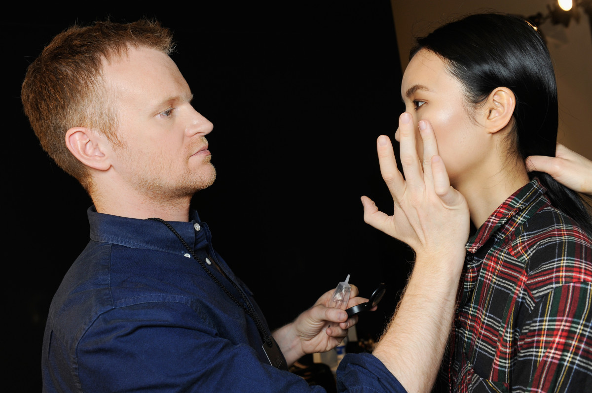 Makeup artist Benjamin Puckey at Costume National's fall 2015 runway show in Milan. Photo: Matteo Valle/Getty Images
