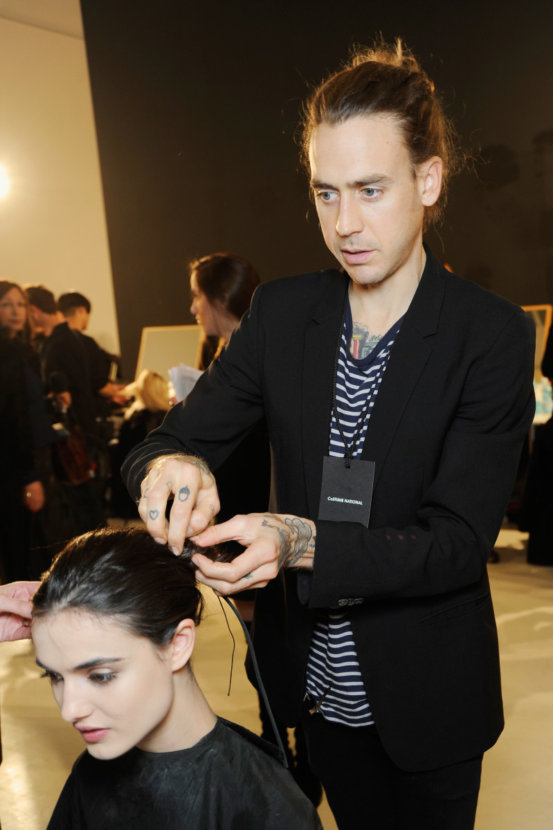 Hairstylist James Pecis at Costume National's fall 2015 runway show in Milan. Photo: Matteo Valle/Getty Images