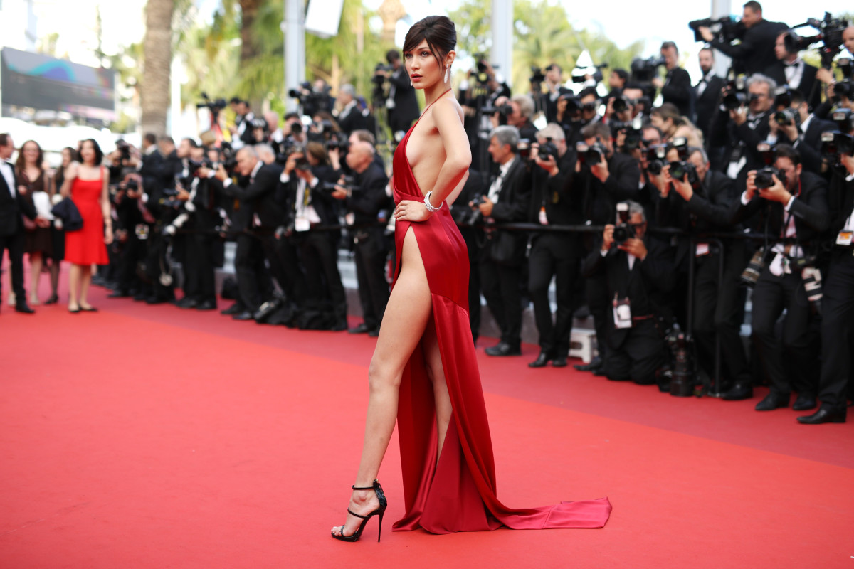 Bella Hadid in custom Alexandre Vauthier Couture. Photo: Andreas Rentz/Getty Images