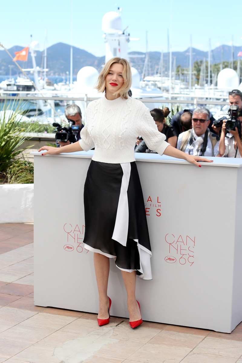 """Léa Seydoux in Louis Vuitton at the """"It's Only The End Of The World"""" (Juste La Fin du Monde) photocall. Photo: Luca Teuchmann/Getty Images"""