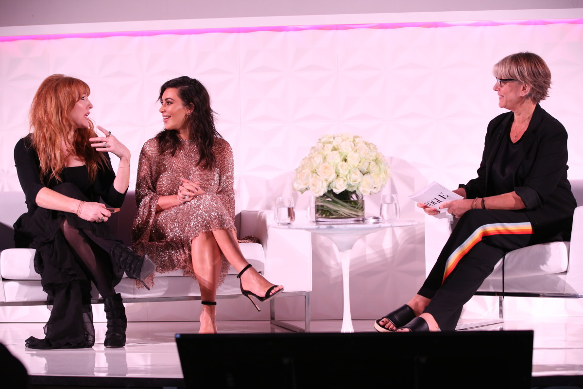 Charlotte Tilbury and Kim Kardashian on stage at the Vogue Festival Saturday. Photo: Darren Gerrish/Vogue UK
