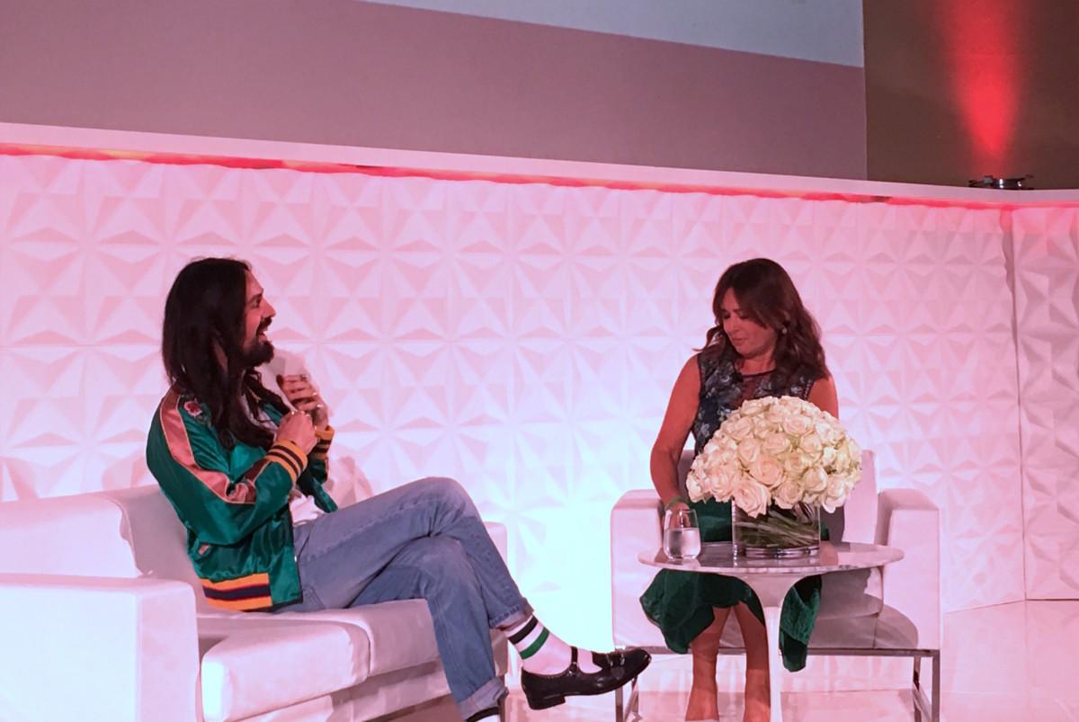 Gucci Creative Director Alessandro Michele with British Vogue's Alexandra Shulman. Photo: Lauren Indvik/Fashionista